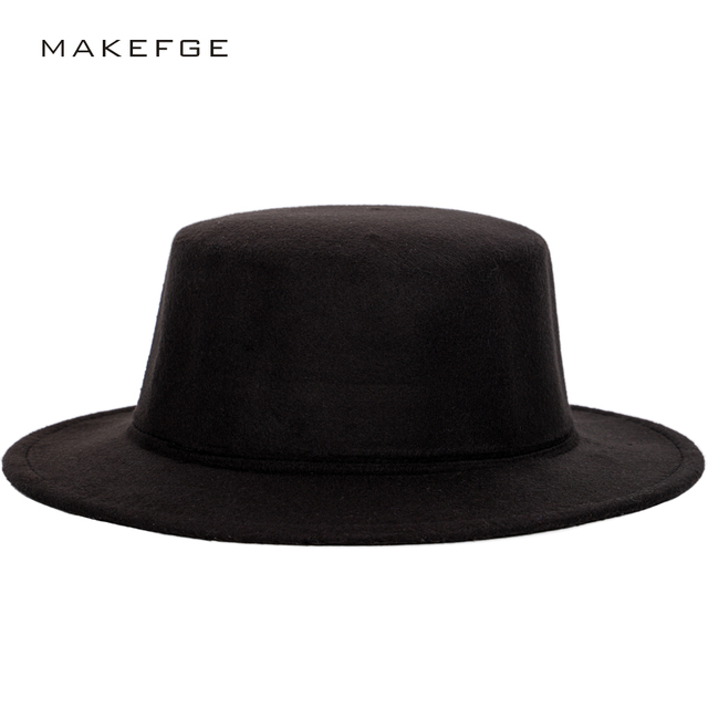 6ba80687666 Men s classic fedora autumn and winter solid color fashion flat top hats  men s and women s universal caps bowler jewish vintage