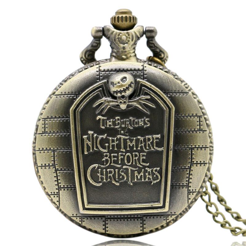 Vintage Antique Nightmare Before Christmas Bronze Quartz Pocket font b Watch b font Pendant Necklace Men
