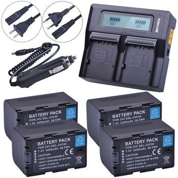 4Pcs 5200mAh SSL-JVC50 JVC50 SSLJVC50 Battery+LCD Fast Dual Charger for JVC GY-HM600,GY-HM650,GY-LS300,GY-HMQ10