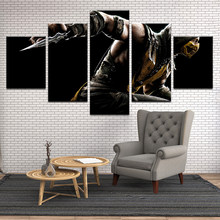 HD Printed Mortal Kombat X Scorpion Canvas Painting On The Wall Pictures For Living Room Unframed 5 Pcs Poster Modular Pictures(China)