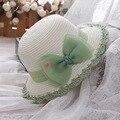 Джейн смеялись с детьми летнее солнце шляпа женщин Корейской милый ребенок Лук Крючком шляпа рыбак солнцезащитный крем