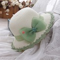Jane laughed with children summer sun hat female Korean cute baby Bow Crochet Hat hat fisherman sunscreen