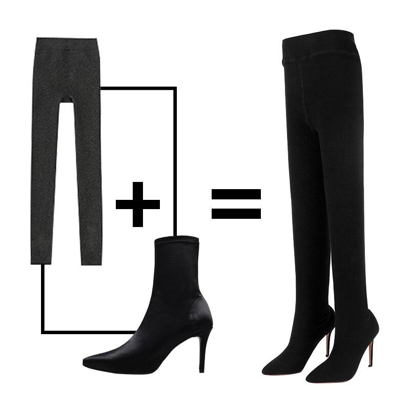 de069301e7 Feminino Dois Botas Wetkiss Stretch Sexy De Salto Em Mulheres Meias Flyknit  Calça Leggings Calças Moda ...
