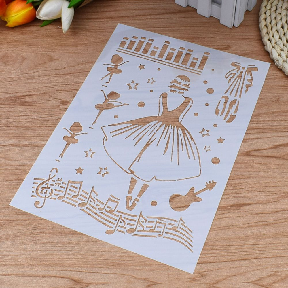 1PCS Musical Ballet Girl Shaped Reusable Stencil Airbrush Painting Art DIY Home Decor Book Album Craft