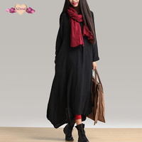 Autumn New Women Black Casual Dress Mori Girl Robe Long Sleeve V Neck Loose Brief Plus