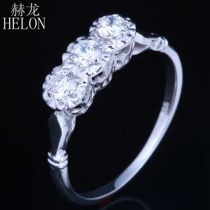 Image 3 - هيلون الصلبة 10k مجوهرات من الذهب الأبيض 0.3ct حقيقية Moissanites الماس خاتم الخطوبة الزفاف رائعة النساء خاتم بثلاثة أحجار