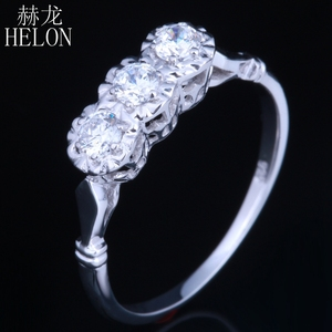 Image 3 - HELON Solid 10k White Gold Jewelry 0.3ct Genuine Moissanites Diamond Ring Engagement Wedding Exquisite Women Three Stone Ring