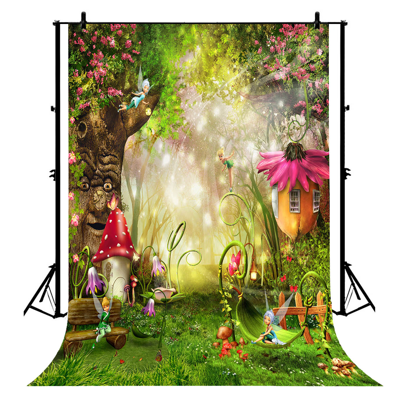 5x7ft Fairy Tale Flowers Garden Fantasy Forest Polyester Photo Background Portrait Backdrop