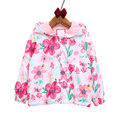 2017 New spring&autumn children coats fashion floral girls hooded jackets 2-7T long sleeve outerwear for kids girls