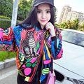 Nova Moda mulheres impressão padrão animal dos desenhos animados bordado uniforme de beisebol jaqueta senhoras outono inverno casaco casacos soltos 254