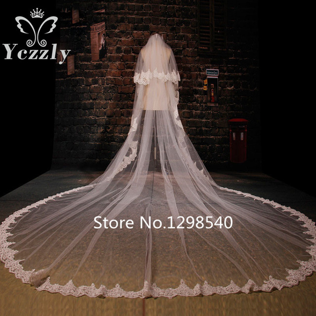 Cheap White/Ivory 2T Long Lace Edge Cathedral Wedding Veil With Comb Real Pictures Appliques Bridal Veils For Bride WB37