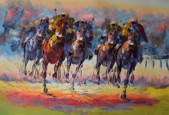 Hand Painted Thick Textured Palette Knife Abstract Horse Racing Oil Painting on Canvas  Wall Painting Picture for Living  Room