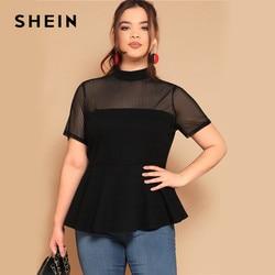 Шеин размера плюс черная полосатая сетчатая блузка с хомутом и баской 2019 женская летняя приталенная блузка со стоячим воротником с рюшами