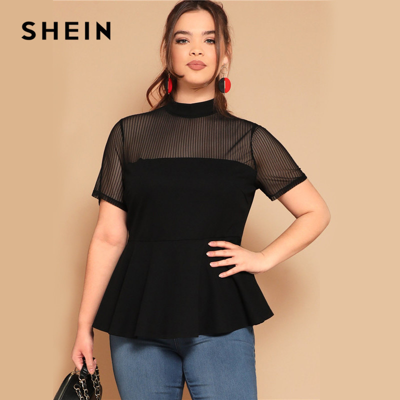SHEIN Plus Size Black Striped Mesh Yoke Peplum Top   Blouse   2019 Women Summer Stand Collar Slim Fit Ruffle Hem Sheer   Blouses     Shirt
