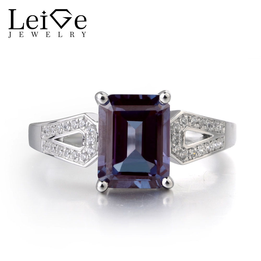 Leige Jewelry Lab Alexandrite Color Changed Gemstone 925 Sterling Silver June Birthstone Emerald Cut Party Rings For WomanLeige Jewelry Lab Alexandrite Color Changed Gemstone 925 Sterling Silver June Birthstone Emerald Cut Party Rings For Woman