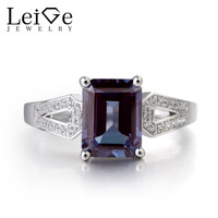 Leige Jewelry Lab Alexandrite Color Changed Gemstone 925 Sterling Silver June Birthstone Emerald Cut Party Rings For Woman