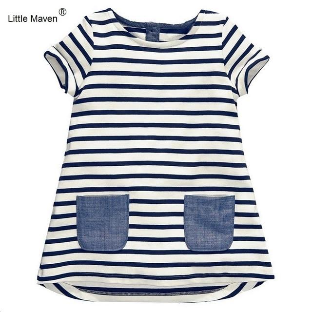 2017 Little Maven 1-7 Years Girls Short Sleeve Blue Stripe Summer Dress Cotton Casual Dresses Kids Clothing KF047