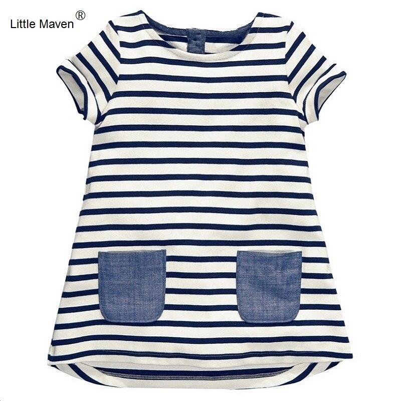 2017 little maven 1-7 años niñas vestido de verano de la raya azul de algodón de