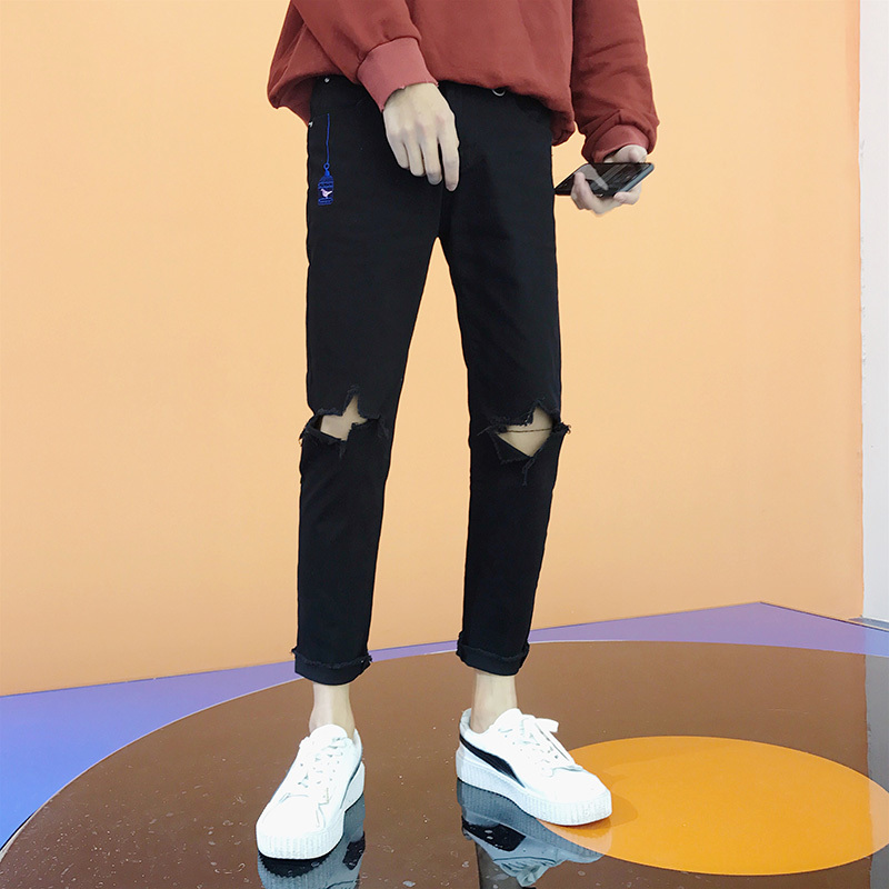 2018 Summer New Mens Youth Knees Large Size Casual Nine Points Pants Denim Tide Pure Black Fashion Personality Washed Low Waist