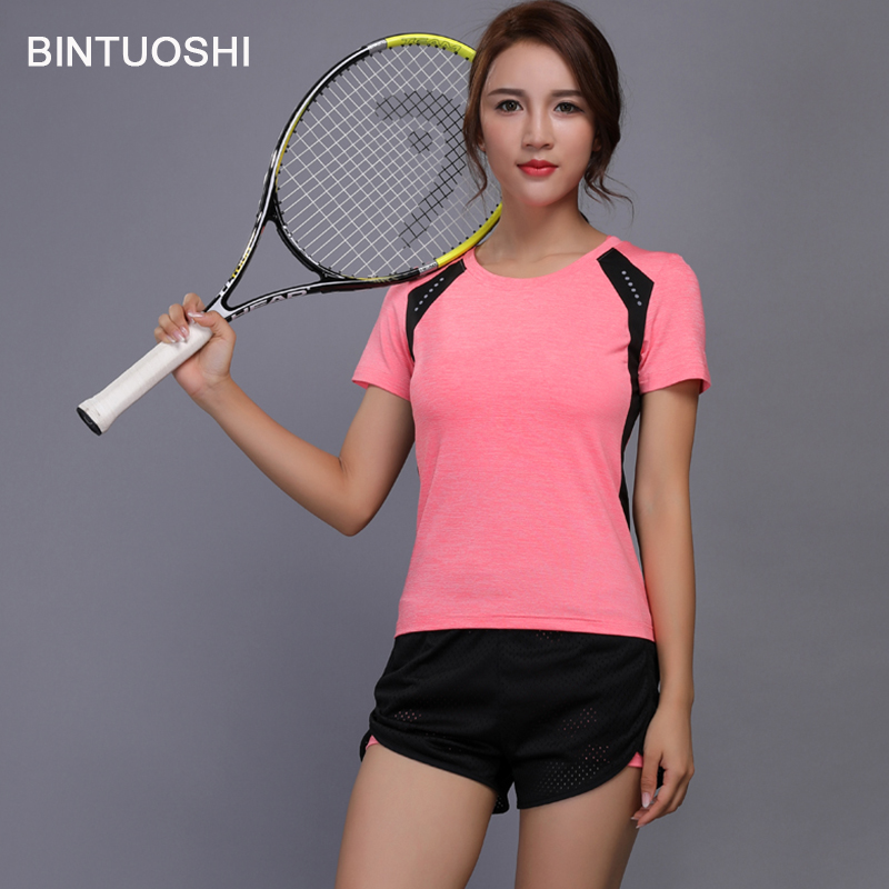 BINTUOSHI Ladies Tennis Garments Yoga Set Badminton Clothes Health Operating Shirt+Shorts Fast Dry Fitness center Exercise Jogging Sport Go well with tennis garments, badminton clothes, badminton shirt,Low-cost tennis garments,Excessive...