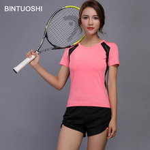 BINTUOSHI Women Tennis Clothes Yoga Set Badminton Clothing Fitness Running Shirt Shorts Quick Dry Gym Workout