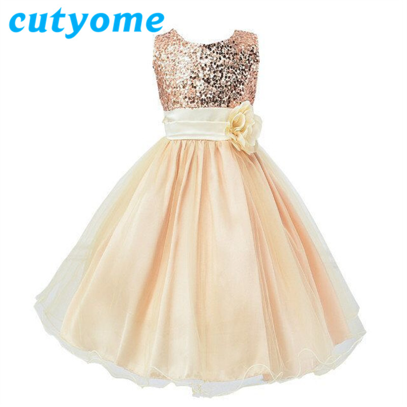 Buy Cheap Cutyome Elegant Girl Formal Evning Dresses For Wedding Party * Kids Costumes Princess Lace Gown Bridesmaid Tulle Sequined Dress