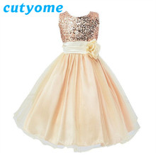 Cutyome Elegant Girl Formal Evning Dresses For Wedding Party * Kids Costumes Princess Lace Gown Bridesmaid Tulle Sequined Dress