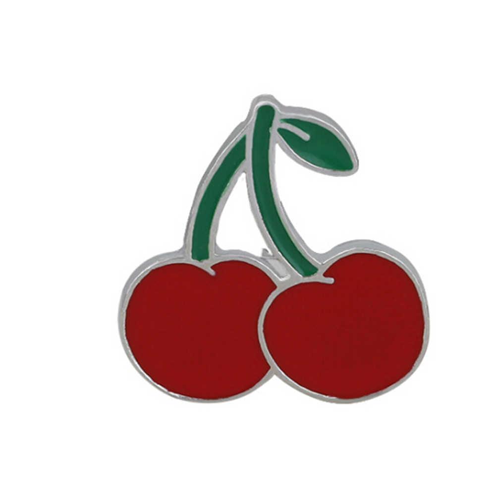 Fashion Mini Buah Bros Pin Kartun Kucing Pisang Nanas Semangka Cherry Enamel Pin Bros Pakaian Denim Kerah Lencana