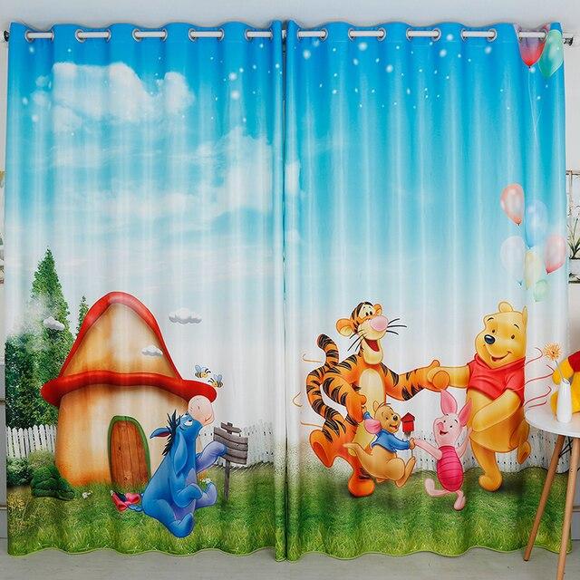 custom made 2x venster draperie gordijn kinderdagverblijf kids kinderen kamer window dressing tulle 200x260 cm pooh