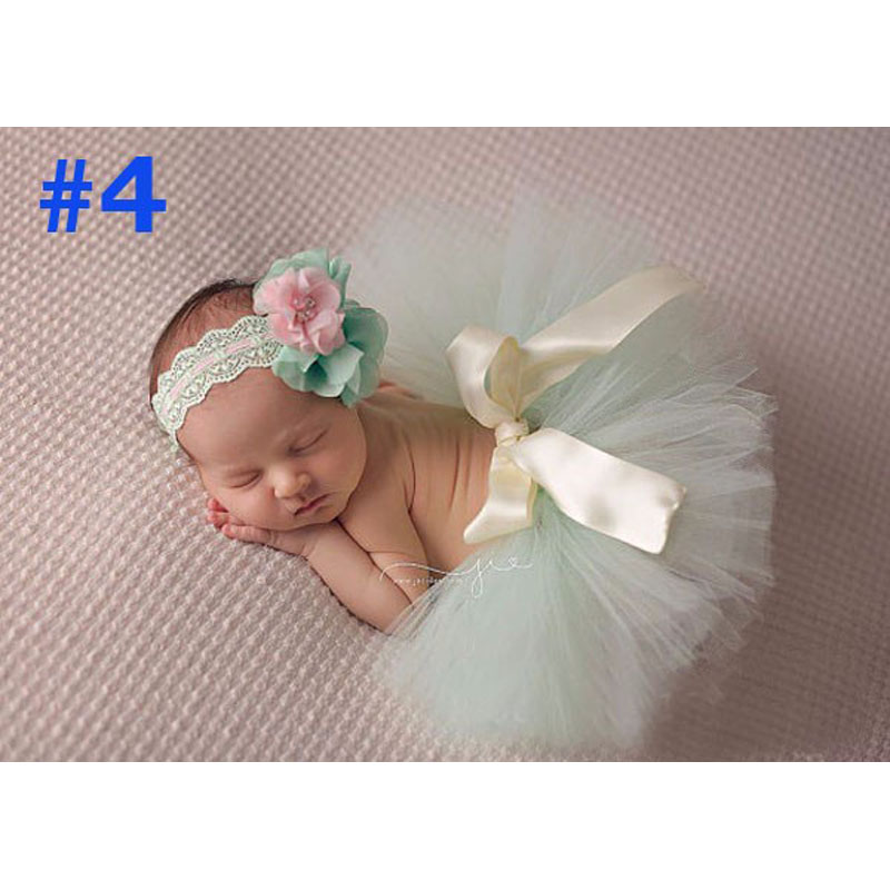 NEW Princess Baby Tutu with Matching Flower Headband Set Newborn Photography Props Little Girl baby Tutu tulle Skirt 6 colors 2pcs baby kids girls cloth set toddler princess party flower t shirt tulle tutu skirt 4 colors hot selling