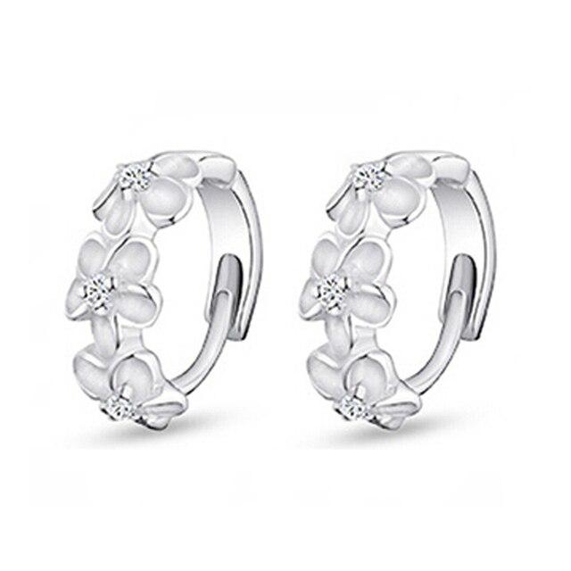 Silver Simple Flower Shape Fine Earrings For Wemen Punk ROCK ear cuff Jewelry EW