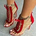 Sapatos SHOFOO, novidade moda frete grátis, preto (vermelho) de couro cashmere, rendas, 11 cm alta-salto alto sandálias, TAMANHO: 34-45