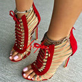 Shoes SHOFOO, novelty fashion free shipping, black (red ) cashmere leather, lace, 11 cm high-heeled sandals, SIZE:34-45