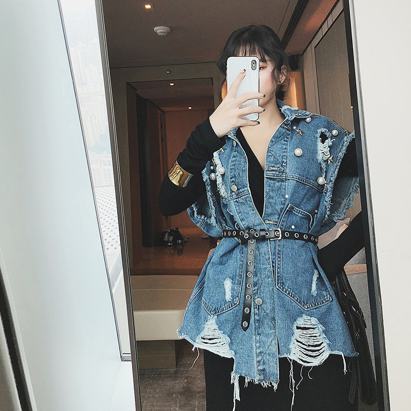 Jean Sans Manches Denim Perle Femmes Long Manteau Femme Tops Blue Lâche Gilet Trou Jeans Getsring xwqZRzSyAx