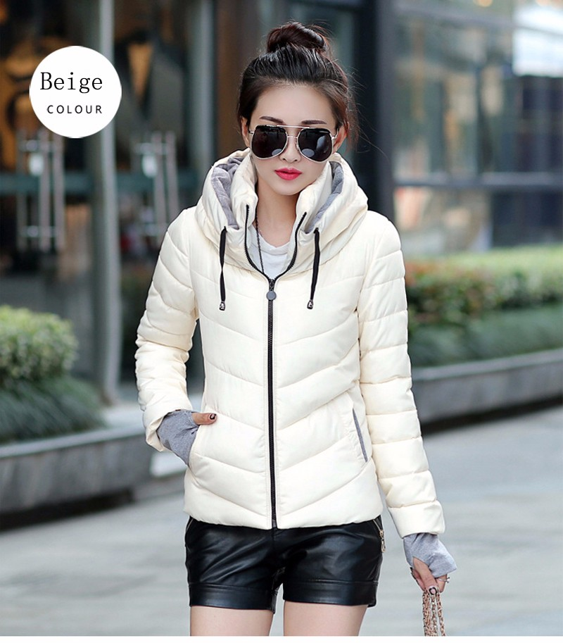 Winter Jacket Women Parkas Thicken Outerwear solid hooded Coats Short 32