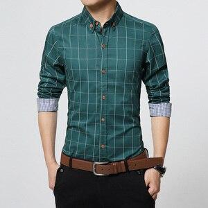 Image 4 - Nowa jesienna moda marka mężczyźni ubrania Slim Fit mężczyźni koszula z długim rękawem mężczyźni wygodne męskie bawełniane koszule w kratkę społecznej Plus rozmiar M 5XL