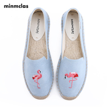 Minmclas Espadrilles Embroidery Alpargatas Flamingo Slippers Slip-on Womens Casual Breathable Flax Hemp Canvas for Girl Shoes