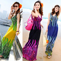 Summer Ice Silk  Bohemian Dress Women Printed V-Neck Sleeveless Backless  Beach Long Dress