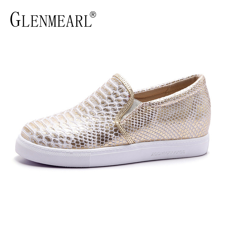 Platform Women Flats Loafers Shoes Woman Brand Silver Thick Heels Single Sneakers Women Spring Plus Size Lazy Shoes Female EO 2017 new spring female flat heels martin shoes bullock shoes female thick bottom loafers large size women shoes obuv ayakkab