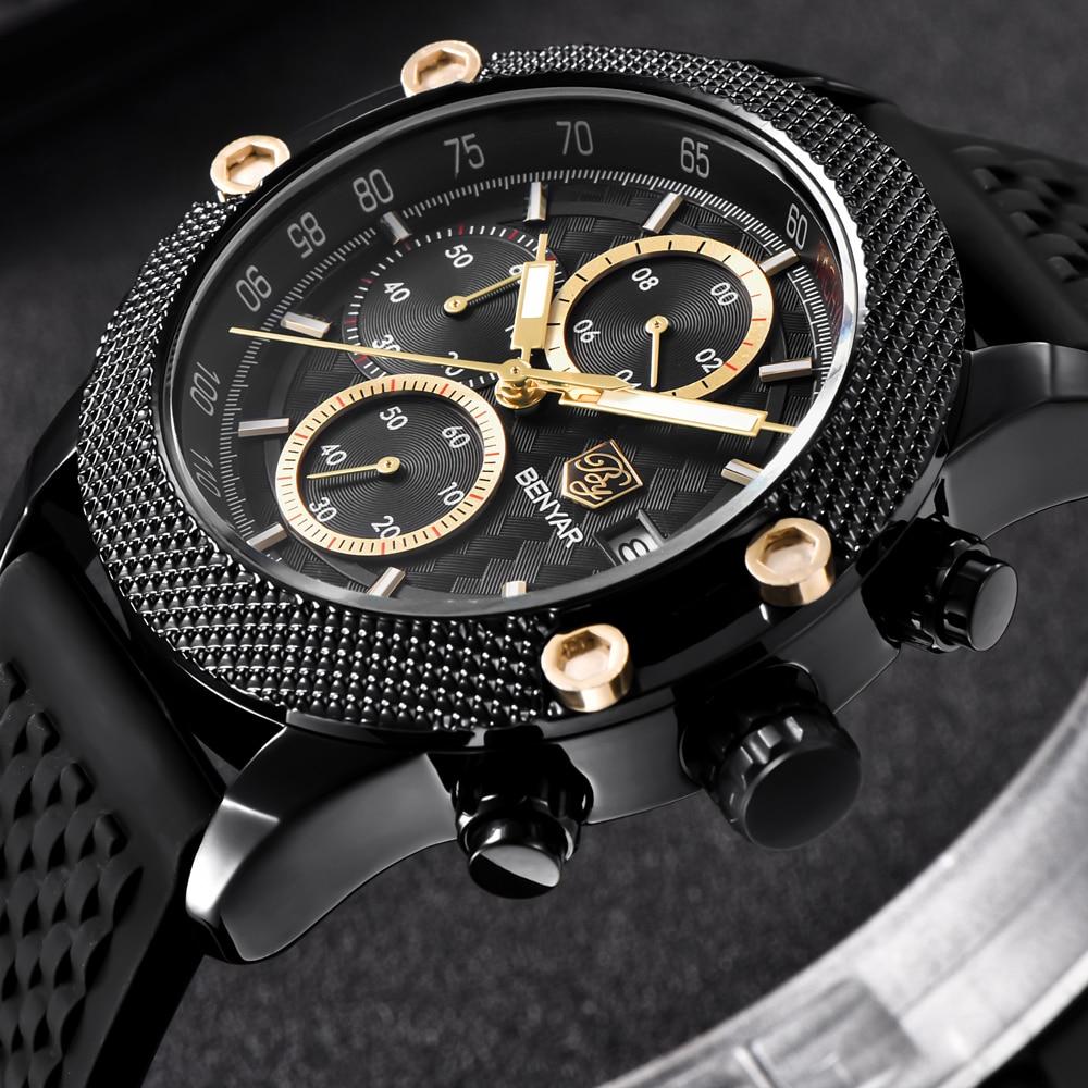 цена на Benyar Men Watch Top Brand Luxury Male Leather Waterproof Sport Quartz Chronograph Military Wrist Watch Men Clock relojes hombre