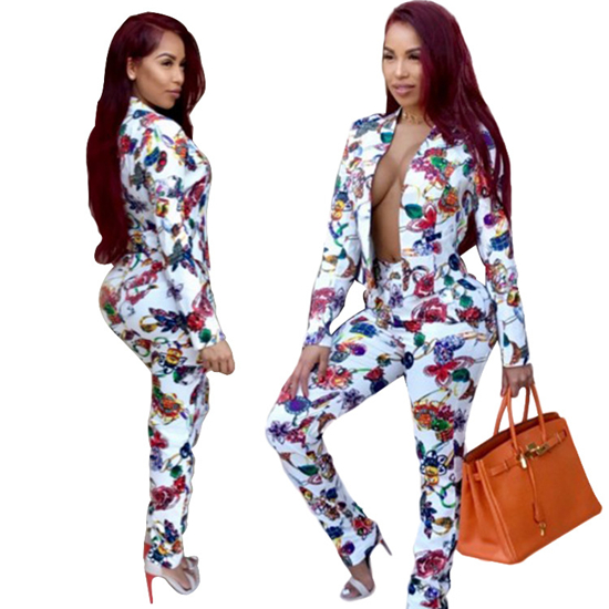 2018 new women Print long sleeve coat pencil pants floral suit Single Breasted England Style