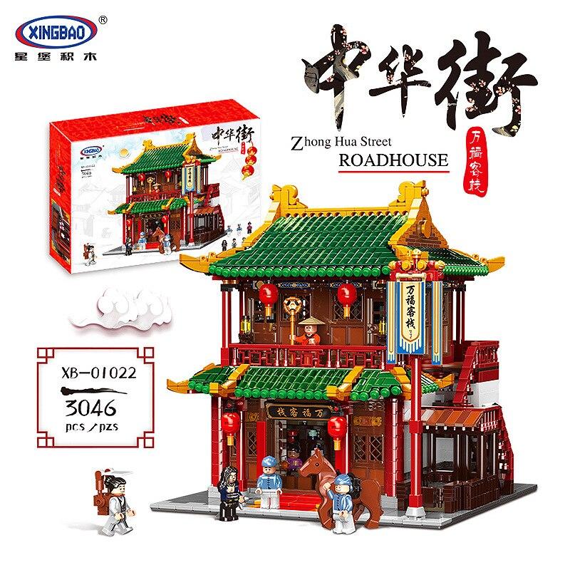 XINGBAO 01022 Chinese Building Series The Wanfu Inn Set Building Blocks Bricks House Model Creator Series Christmas Gifts Toy