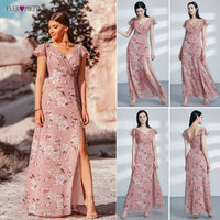 2018 Prom Dresses Ever Pretty Robe de Soiree Sexy High Split Pink A Line V Neck Printed Summer Beach Vestido de Festa EP07326PK