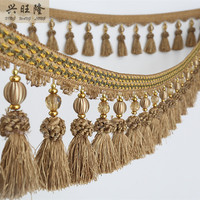 New 6M Lot Crystal Beads Curtain Lace Accessories Lace Tassel Fringe Trim Ribbon DIY For Stage