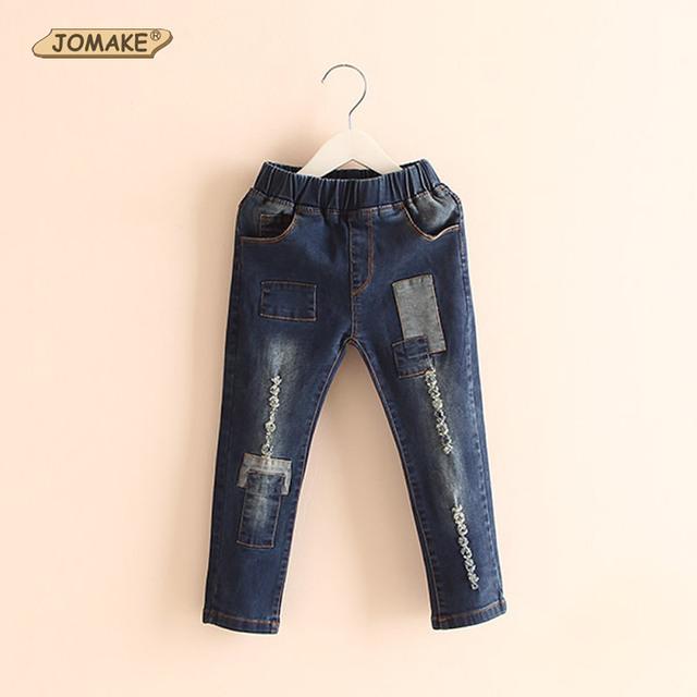 Al por menor nueva primavera / otoño para niños vaqueros Unisex niños ropa de bebé encuadre de cuerpo entero pantalones niñas / niños fresco Patch Denim Pants