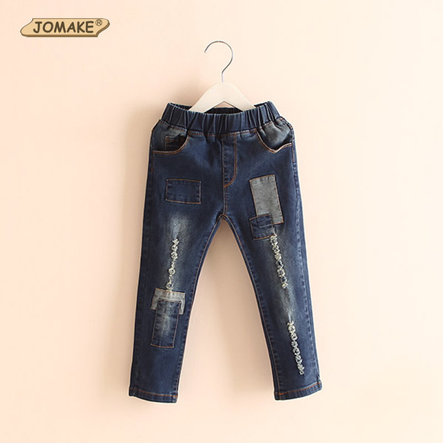 Retail Fashion New Spring/Fall Kids Jeans Unisex Children Clothing Baby Full Length Trousers Girls/Boys Cool Patch Denim Pants