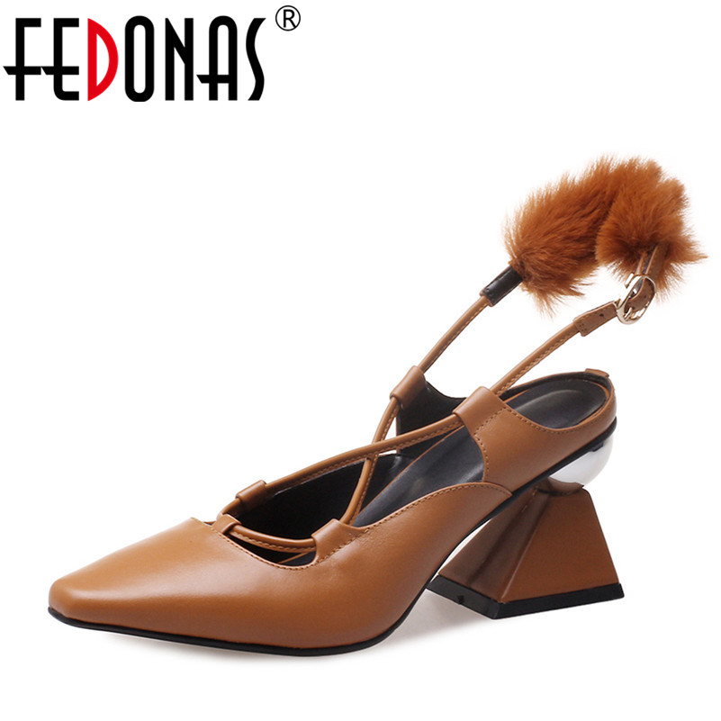 FEDONAS 2018 Summer New Brand Genuine Leather Shoes Woman Sandals Buckles Square Toe Prom Shoes Woman High Heels Sandals
