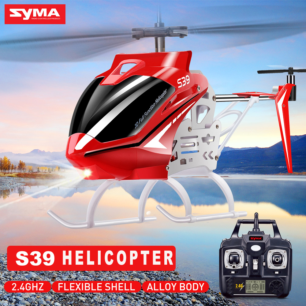 100% Original Syma S39 2.4G 3CH RC Helicopter with Gyro LED Lights  Aluminum Anti-Shock Remote 100M Control Aircraft kids toys remote control charging helicopter