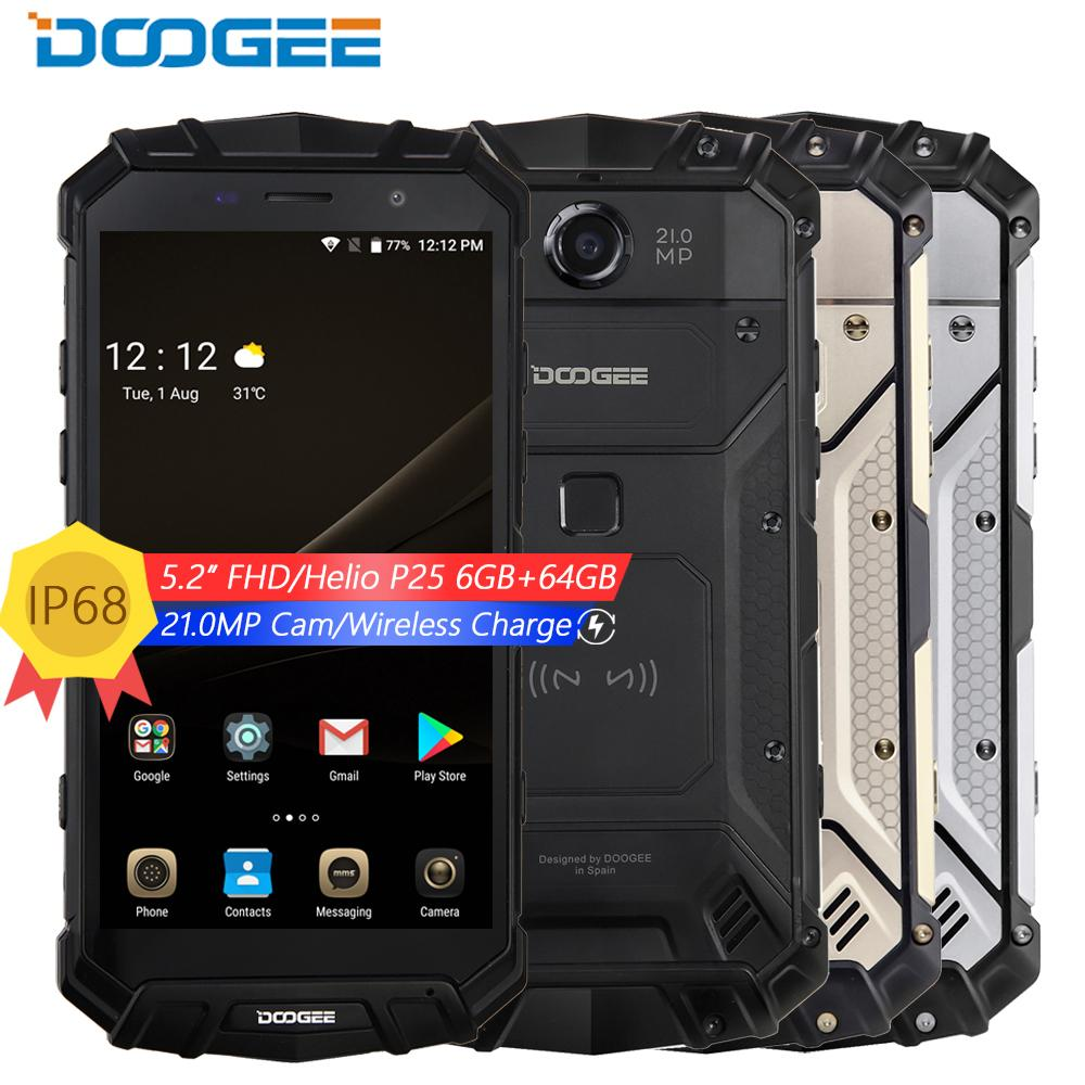 DOOGEE S60 IP68 водонепроницаемый ударопрочный телефон 5,2 ''FHD Helio P25 Восьмиядерный 6 ГБ 64 ГБ 4 г смартфон android 7 5580 мАч 21.0MP Камера