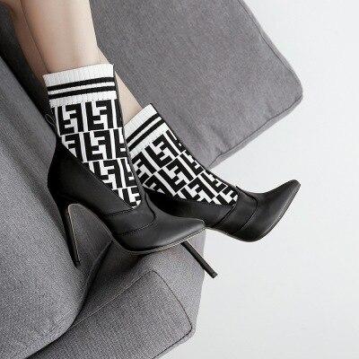 Amérique Et Mode Tube Tricot Brown Europe Chaussures noir F Haute Lettre Femmes Chaussettes Couleur Talon De Tissu Moyen Laine Nouvelle Élastique tqSwCEdw